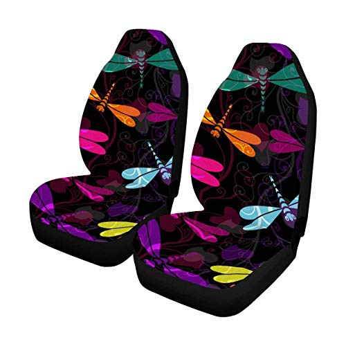 INTERESTPRINT Colorful Dragonflies and Translucent Vintage Curls Front Car Seat Covers Set of 2, Vehicle Seat Protector Car Mat Covers, Fit Most Vehicle, Cars, Sedan, Truck, SUV, Van