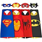 SPESS Superhero Capes Kids Dress Birthday Party Cartoon Costume Set Boys Girls 4 Set Cape wiht Maks