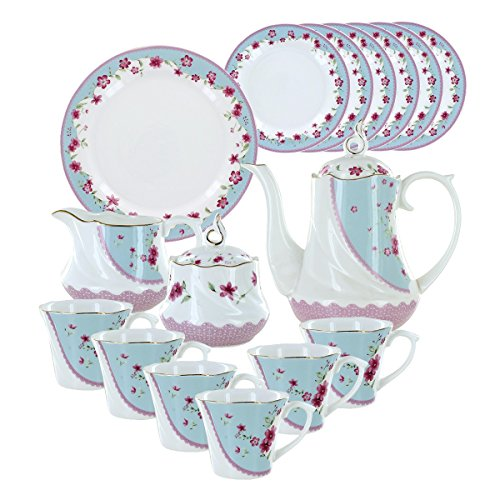 Deluxe Porcelain Tea Set - Azure Florets Deluxe Porcelain Tea Set