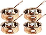 Set of 4 Prisha India Craft ® High Quality Handmade Steel Copper Casserole and Serving Spoon - Set of Copper Handi and Serving Spoon - Copper Bowl Dia - 5.00'' X Height - 2.00'' - Christmas Gift