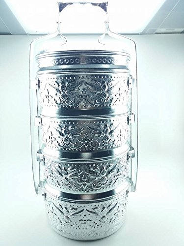 THAI ALUMINIUM 16 CM pineapple CONTAINER SILVER PINTO 4 STACK LUNCH BOX TIFFIN - Mall Jacksonville Fl