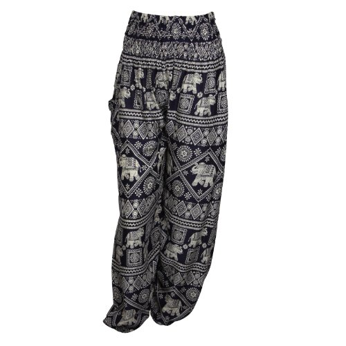 Pantalones harén–ALADDIN pantalones de Hippie con 18Diferentes diseños Elephant Dark Blue