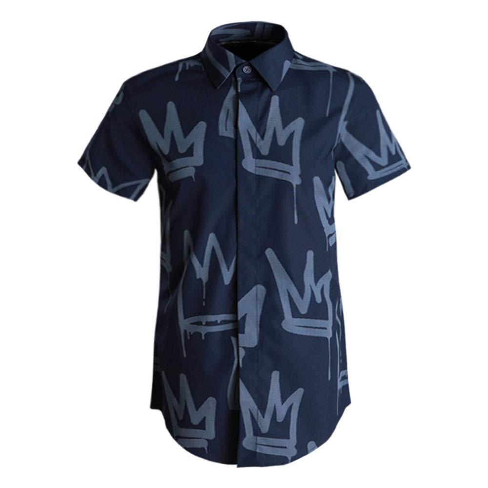 Bleu Marin X-grand BESISOON-MCL Chemises de Plage d'été pour Hommes Chemise à Manches Courtes pour Hommes col Chemisier boutonné Chemise de Ville Coupe Droite en Coton imprimé DéguiseHommests pour Les Vacances
