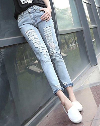 Vintage Collant Crayon Leggings Jeans Slim Femme Taille Dchir Pantalons Haute Bleu Pantalons Casual Clair Denim 8wSxwRqvd