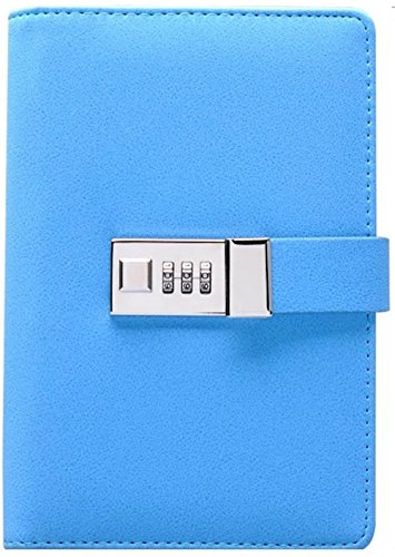 Binder Journal With Combination Lock (Binder Diary With Combination Lock), Size: 18.5cm X 13.5cm. PU Leather Multi Color Combination Lock Journal (Combination Lock Diary) Blue