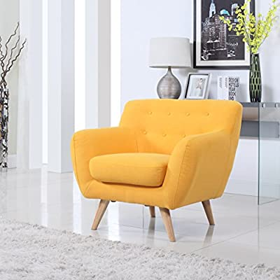 Divano Roma Furniture - Modern Mid Century Accent Chair - Modern Mid Century style chair/loveseat with natural wooden legs. Bright yellow color stands out and gives any room the ultimate look! Carefully selected linen upholstery fabric with beautiful tufted button details. - living-room-furniture, living-room, accent-chairs - 511TeMzmseL. SS400  -