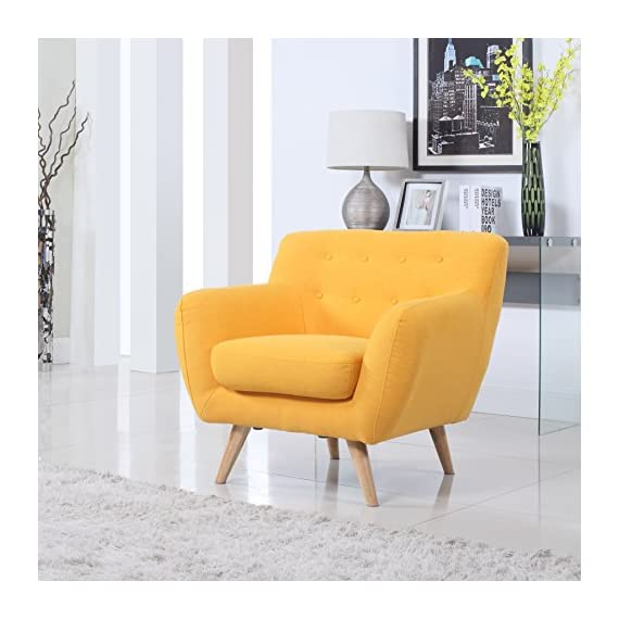 Divano Roma Furniture - Modern Mid Century Accent Chair - Modern Mid Century style chair/loveseat with natural wooden legs. Bright yellow color stands out and gives any room the ultimate look! Carefully selected linen upholstery fabric with beautiful tufted button details. - living-room-furniture, living-room, accent-chairs - 511TeMzmseL. SS570  -