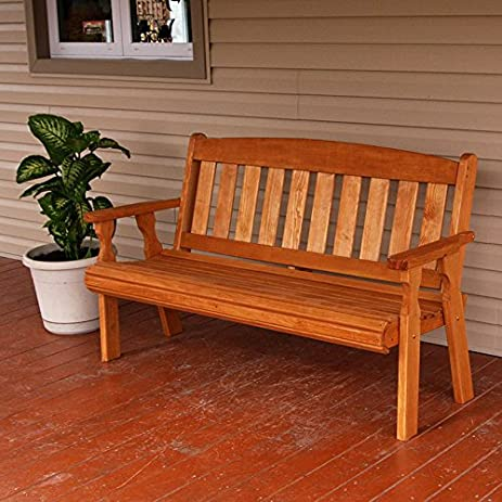 amish heavy duty 800 lb mission pressure treated garden bench 5 foot cedar stain - Garden Furniture Stain
