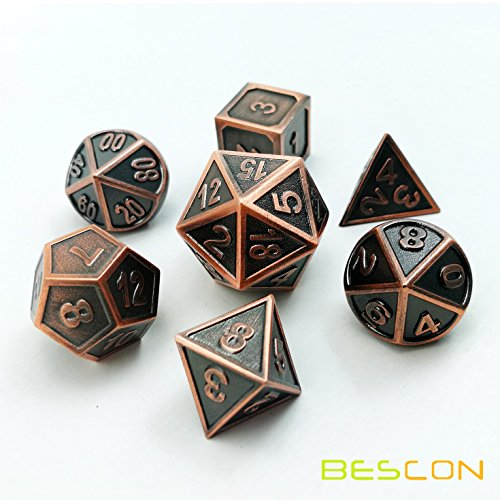 Bescon New Style Copper Solid Metal Polyhedral D&D Dice Set of 7 Copper Metallic RPG Role Playing Game Dice 7pcs Set D4-D20 (Dice Metallic)