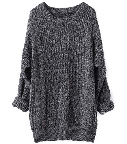 Liny Xin Women's Cashmere Oversized Loose Knitted Crew Neck Long Sleeve Winter Warm Wool Pullover Long Sweater Dresses Tops (Dark Grey)