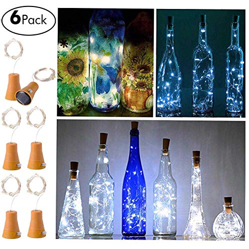 6 Pack Solar Powered Wine Bottle Lights, 10 LED Waterproof Cool White Copper Cork Shaped Lights for Wedding Christmas, Outdoor, Holiday, Garden, Patio Pathway Decor -