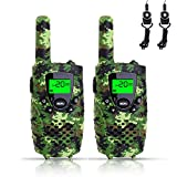 FAYOGOO Kids Walkie Talkies, 22-Channel FRS/GMRS Radio, 3-Mile Range Two Way Radios with Flashlight and LCD Screen-Best Gifts for Boys, Camo Green