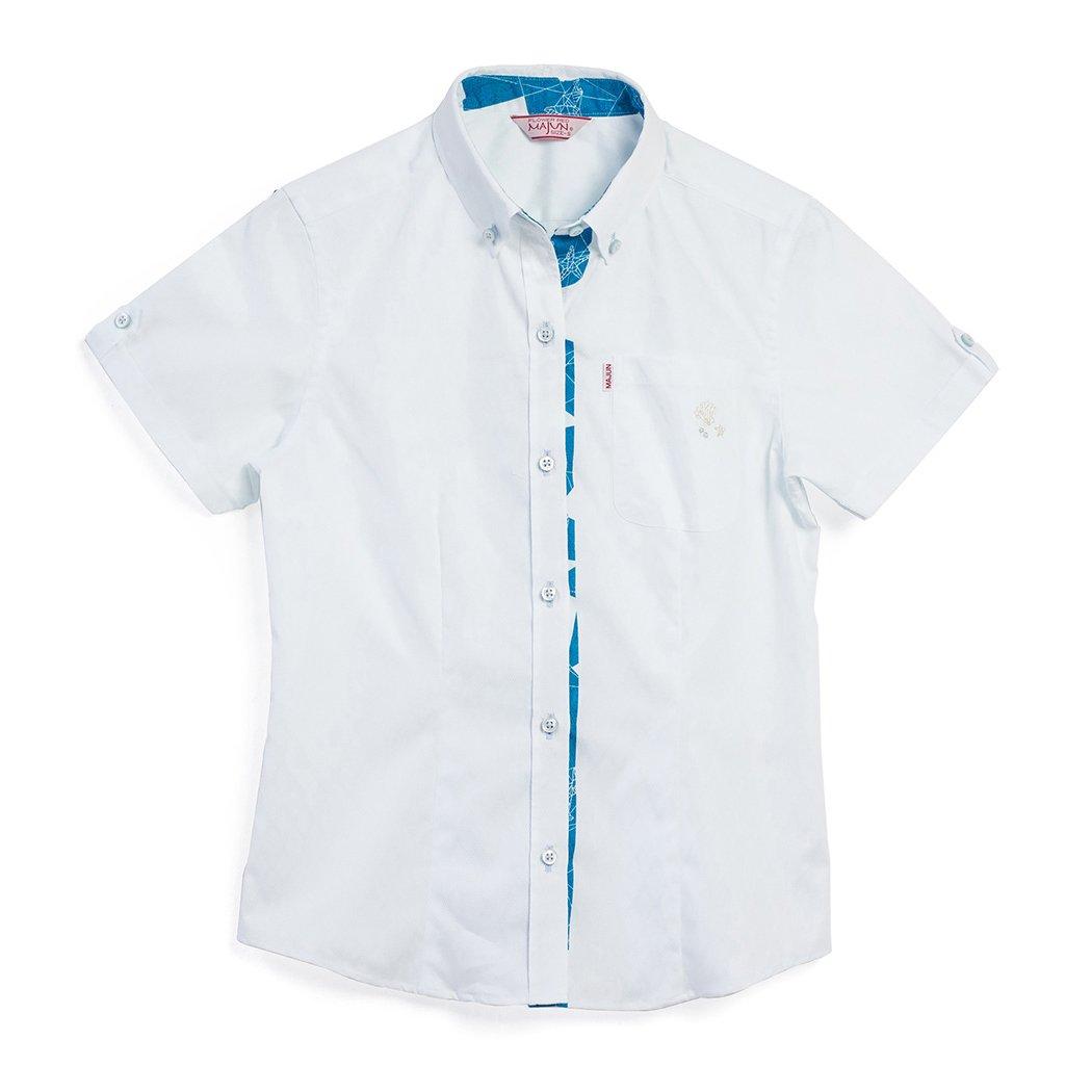 かりゆしウェア 沖縄版 アロハシャツ MAJUN マジュン かりゆし 結婚式 Ladies シャツ ボタンダウン 幾何マリン B0792P4YZX 3L ライトブルー ライトブルー 3L