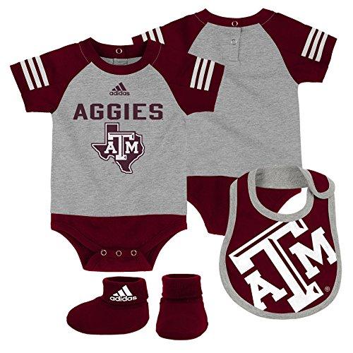 Outerstuff NCAA Texas A&M Aggies Children Boys Team Shout Onesie, Bib & Bootie Set, 18 Months, Heather Grey