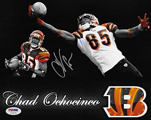 Chad Johnson Autographed Football - Chad Ochocinco Johnson Autographed Signed Bengals Football 8x10 Photo PSA/DNA Authentic