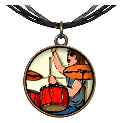 GiftJewelryShop Bronze Retro Style Music Theme Playing Drummer Libra Pendant Pendant Necklaces