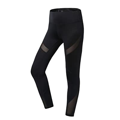 Sloli Women Pants Mesh Stitching Sports Workout Leggings Capris High Waist Yoga Pants