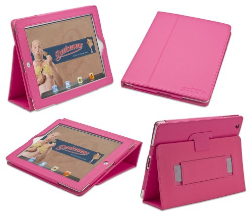 Devicewear Peak iPad 2/3/4 Case: Pink Vegan Leather Cover and Flip Stand with Elastic Hand Strap and Magnetic ()
