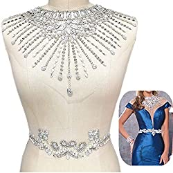 Sew on Silver Rhinestones Applique on White Mesh