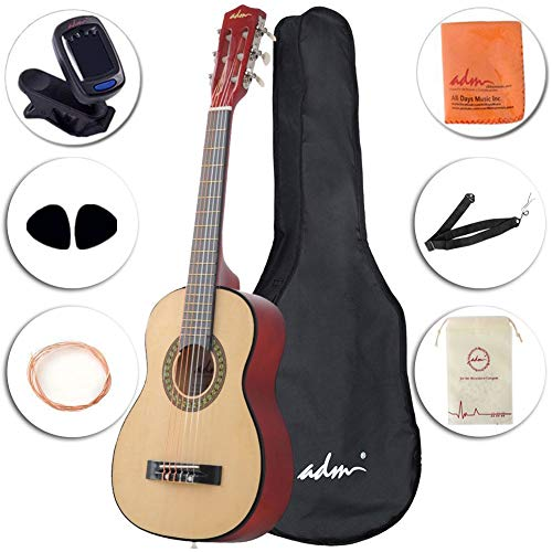 Classical Guitar Starter Pack - ADM Beginner Classical Guitar 30 Inch Steel Strings Natural Bundle Kit with Gig Bag, Tuner, Strings, Strap, and Picks