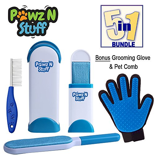 Pawz N Stuff | Premium 5 Piece Pet Hair Remover Set - Includes A Grooming Glove, & Pet Comb For Lint