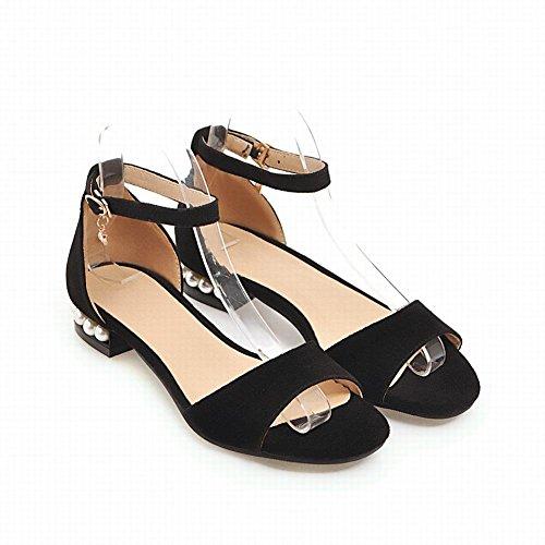 Knöchelriemen Perlen Sandalen Mode Schöne Damen Carolbar Schwarz Flache Fq6nzSw1WU