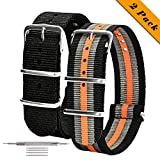 NATO Watch Straps 2 Pack Ballistic Nylon Replacement Watch Bands Military Canvas with Stainless Steel Buckle for Men Casual Classic Watches Accessories 20mm 22mm