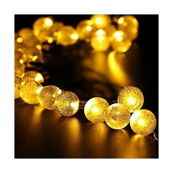 Ibello Catena luminosa Solare Stringa di Luci 6 Metri 30 Palline LED Impermeabile Energia Solare Bulbo Luminoso Luce Bianca Calda 8 Modalità Decorativa da Festa Giardino Gazebo (Bianco Caldo) 5 spesavip