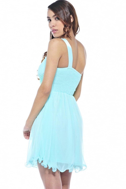 Verziertes Kleid im One-Shoulder-Stil Mintgrün, Größe:36: Amazon.de:  Bekleidung