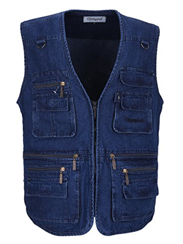 LUSI MADAM Men's Denim Pockets Leisure Outdoor Fishing Vest US 2XL/Asia 5XL Blue