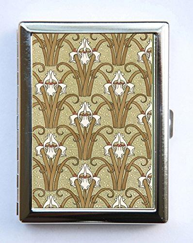 Art Nouveau Iris Floral Pattern Cigarette Case id case Wallet Business Card Holder
