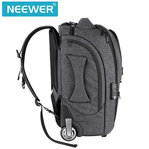 Neewer 2-in-1 Camera Rolling Backpack Trolley Case with TSA Lock, Anti-Shock Detachable Padded Compartment, Hidden Pull Bar, Durable, Waterproof for Lens, Lens Hood, and Tablet (Grey/Red) by Neewer (Image #7)