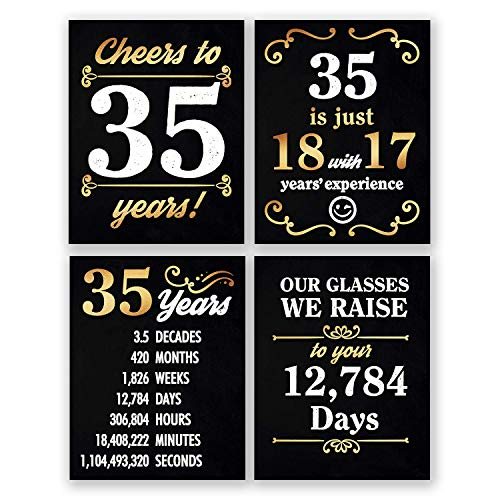 8x10 35th Birthday Decorations - Set of 4 Art Prints For Men and Women // Cheers to 35 Years Sign // Black and Gold