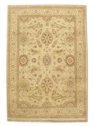 Traditional Persian Chobi Handmade Sultanabad Rug, Wool, Cream, 4' x 5' 8