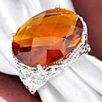 Siam panva Huge Gorgeous Oval Cut Honey Brazil Citrine Gemstone Silver Ring US Size 7 8 9 (8)