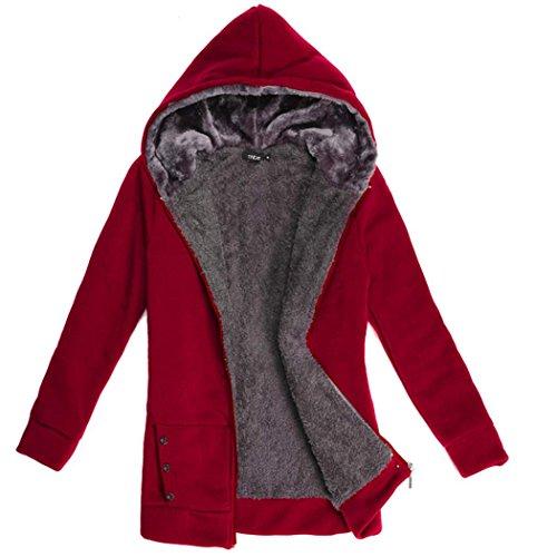CRAVOG Femmes manteau Chaud Epaissir Fleece Faux Fur D'hiver - Sweat  capuche Veste Tops Vin rouge
