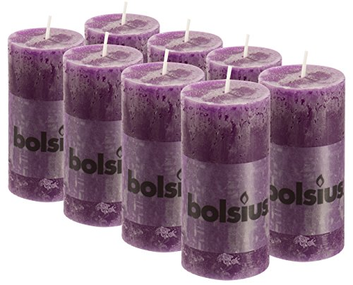 BOLSIUS 8 Pk. Purple Rustic Pillar Party Wedding Candles Aprox. 2X4 Inches (100X50mm) ()