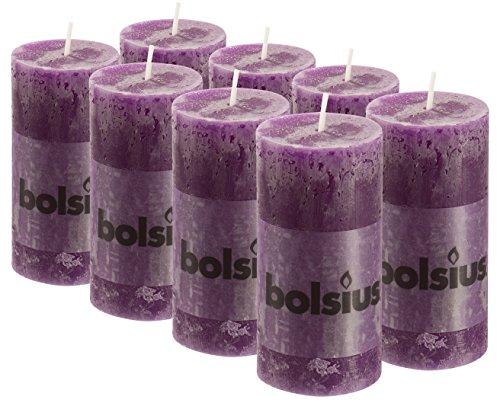 - BOLSIUS 8 Pk. Purple Rustic Pillar Party Wedding Candles Aprox. 2X4 Inches (100X50mm)