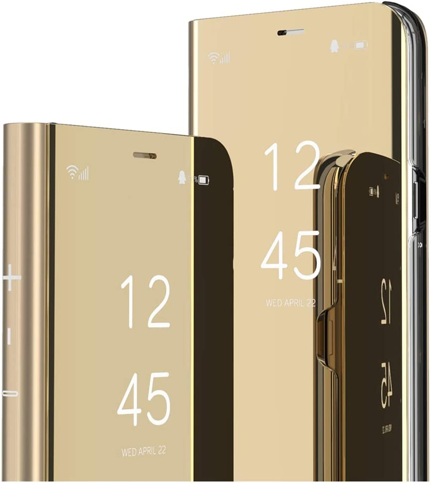 ISADENSER Samsung Galaxy A30 Case Galaxy A20 Case Luxury Design for View Flip Plating Mirror Makeup Glitter Slim Shockproof Full 360 Body Protective Case for Samsung Galaxy A20 Mirror Mirror Gold