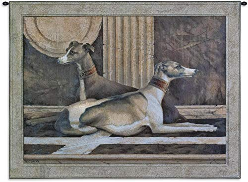 Greyhound Tapestry - Greyhound Fresco by Elaine Vollherbst | Woven Tapestry Wall Art Hanging | Regal Relaxing Dogs in Brown Tones | 100% Cotton USA Size 53x42