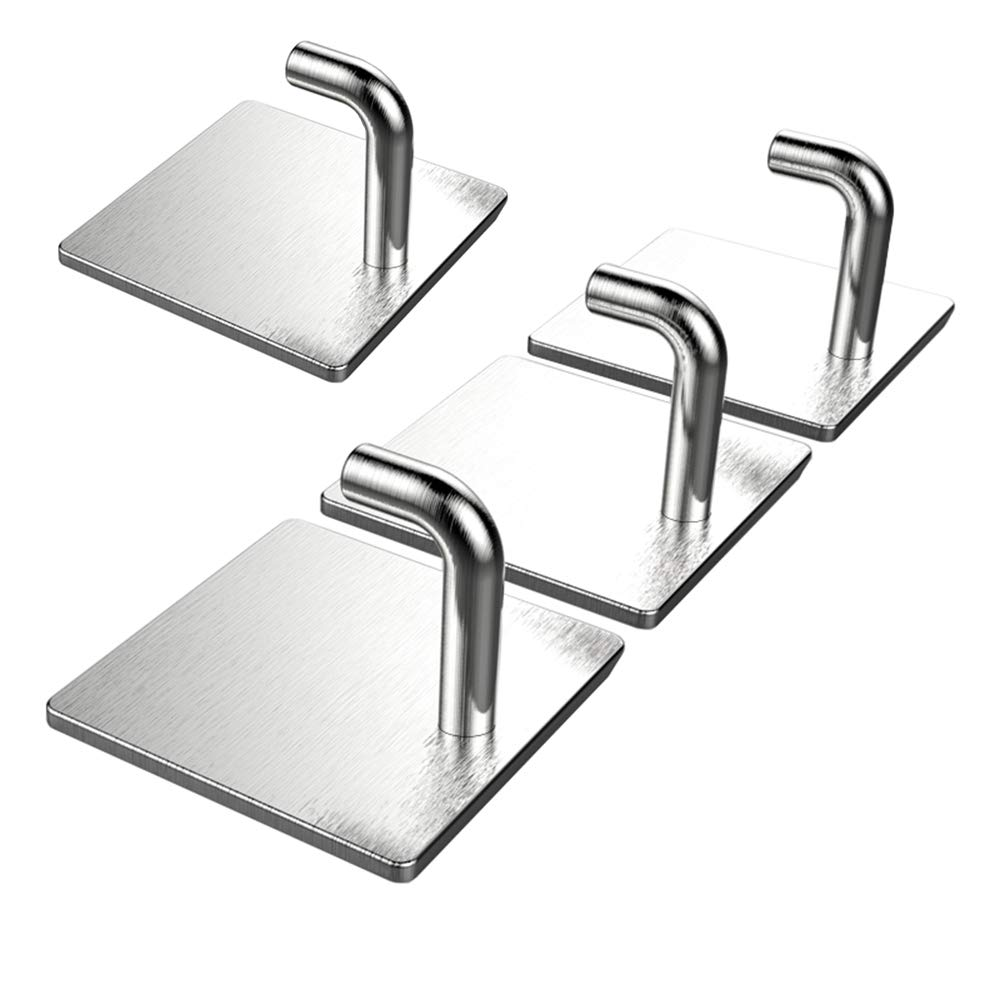 4 Pcs Adhesive Hooks for Home Use, Nail Free 304 Stainless Steel Ultra Strong Waterproof Hanger/Heavy Duty Wall Mounted Hook for Kitchen, Bathroom, Robe, Coat, Towel, Keys, Bags, Lights, Calendars MansWill