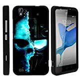 ZTE Quartz Phone Case, Slim Hard Shell Snap On Case with Custom Images for ZTE Quartz Z797C (Straight Talk) from MINITURTLE | Includes Clear Screen Protector and Stylus Pen - Demon Cyborg