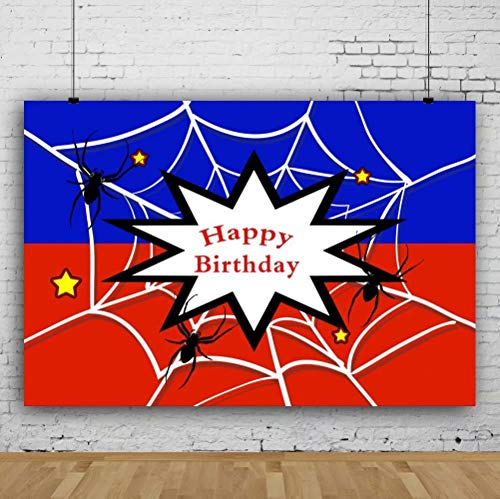 Leowefowa 10x8ft Vinyl Photography Backdrop Spider Web Themed Birthday Party Black Spiders Red and Blue Halloween Background Event Party Decoration Portrait Photo Shoot Studio Photo Booth Props