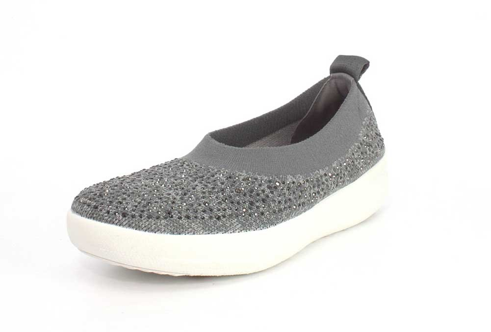 Fitflop H95 Women's Uberknit? Slip-On Ballerinas B078T38YQM 11 B(M) US|Charcoal/Dusty Grey
