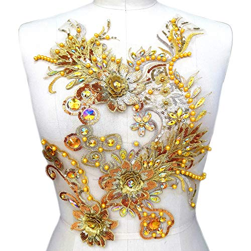 Rhinestones Sequins Beads Embroidered 3D Lace Applique Crystals Patches Dress Accessory Sewing for Evening Prom Dress 11.8x15 inch (Yellow)