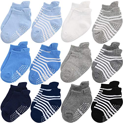 Baby Non Slip Grip Toddler Socks - Ergonomic Anti Skid Sole Grips For Boys Girls Toddlers Kids Infant - 12-36 Months Soft & Breathable Cotton Socks Set For Baby Boy Kid (Blue Craft)