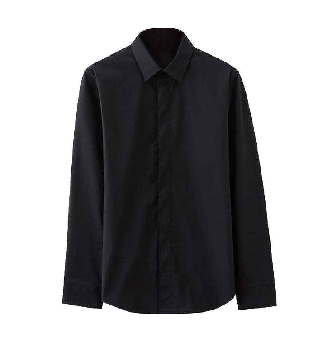YUNY Mens Casual Loose Stretch Premium Stylish Long Sleeve Dress Shirt Black 2XL