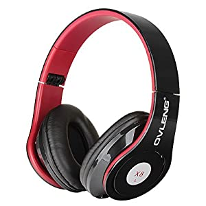 Ovleng X8 Fashion Foldable Gaming Headset Headphones w/ Microphone for Smart Phone / iPod / Computer - Black + Red
