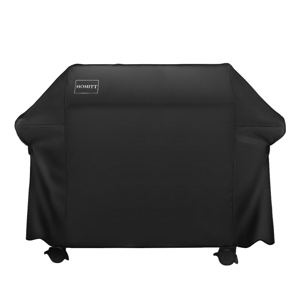 Homitt Gas Grill Cover, 58-inch 600D Heavy Duty Waterproof BBQ Grill Cover for Weber, Holland, Jenn Air, Brinkmann and Char Broil -Black