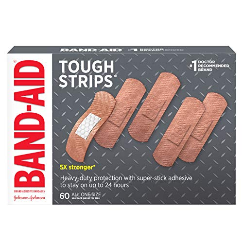 (Band-Aid Brand Tough Strips Adhesive Bandage for Minor Cuts & Scrapes, All One Size, 60 ct)